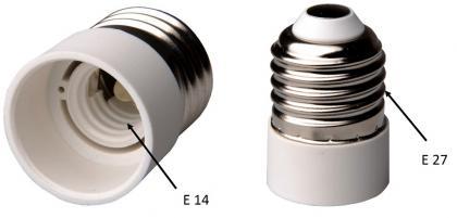 Adaptateur de douille, De E14 à E 27 - Pour ampoule à vis - Lot de 2