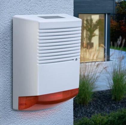 Alarme sirène factice solaire, LED flashante jour et nuit - Panneau solaire invisible