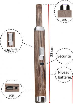 Briquet XXL Secure + Wood, Impulsion éléctrique - Rechargeable - Sécurisant