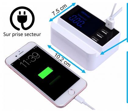 Chargeur multi 4 USB, Ecran LCD rétroéclairé - 4 ports - Total 4.1A