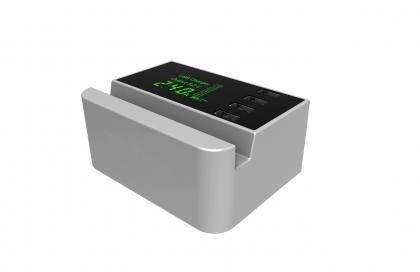 Chargeur multi 4 USB Silver, Ecran LCD rétroéclairé - 4 ports - Total 4.1A