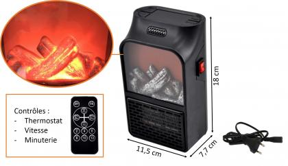 """Chauffage à poser """"cheminée"""", Technologie céramique - Télécommande - 500W"""