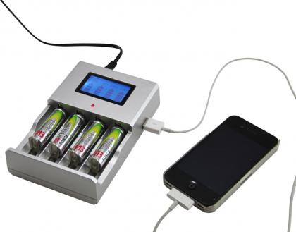 Station d'énergie compacte, Ni mH, Ni CD, Alcalines et Li-on - Port USB