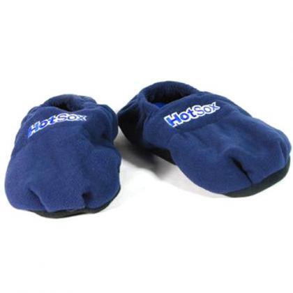Chaussons chauffants pointure 41-45, Graines de lin, Modèle homme : coloris bleu.