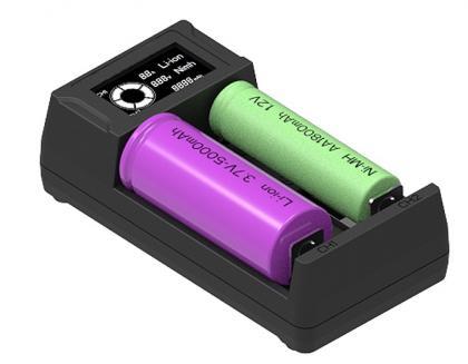 Chargeur de piles Intelligent, Recharge 2 piles Lithium, NiMH, NiCD - Alimentation USB intégrée