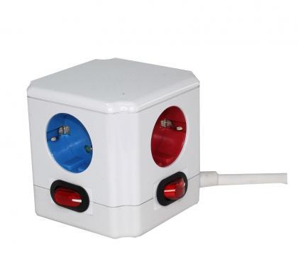 Cube multiprise Couleur, 4 prises - Interrupteur pour chaque sortie - Stickers