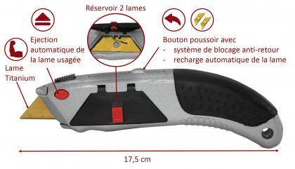 Cutter Xtreme Titanium blades, Réservoir - 3 lames Titanium - Rechargement automatique