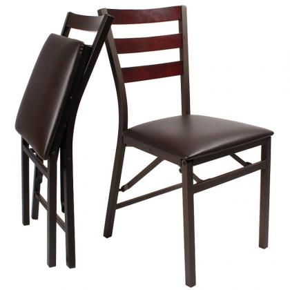 Chaises pliables en lot de 2, pliage ultra plat - finitions soignées