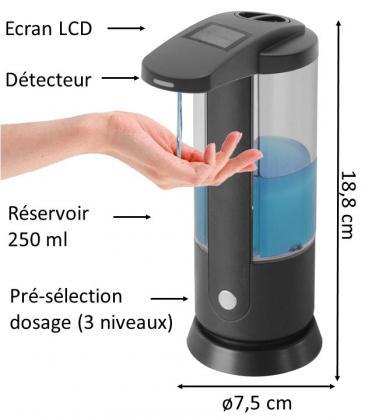 Distributeur de savon, Automatique -  Ecran LCD - 3 dosages