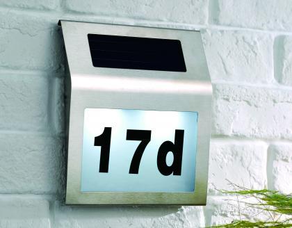 Eclairage numéro de maison, Rechargeable énergie solaire - Numéro personnalisable
