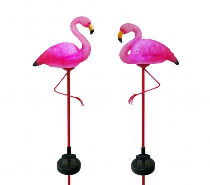 Duo de flamingos lumineux, Solaire - Polyrésine - Rendu réaliste