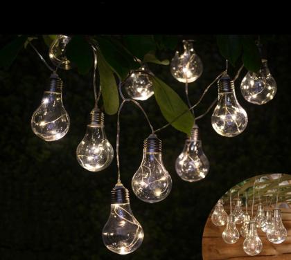 Guirlande Guinguette solaire, 30 LED - 10 ampoules - IP44