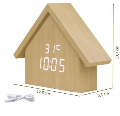 Horloge maisonnette, Leds Blancs -Température - Date - Réveil - Aspect bois