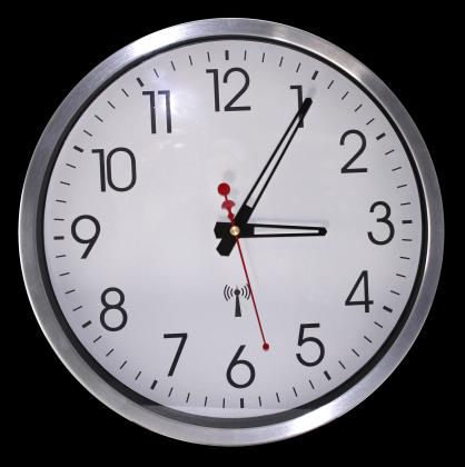 Horloge murale Silver Touch, Grands Chiffres - Radio-pilotée - Cadre aluminium