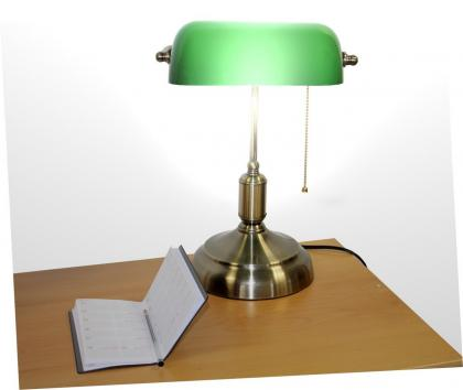 Lampe de banquier, Opaline verte - Grande taille - Chaînette