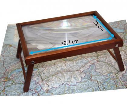 Loupe bois Format A4, Grossissement x3 - Support 4 pieds - Compacte