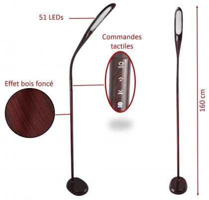 Lampadaire Twist & Wood, 3 températures de lumière- 4 intensités - 630 à 900 Lumens