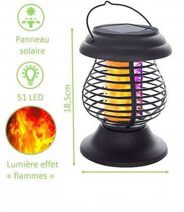 """Lanterne 2 en 1 mosquito killer, Solaire - Eclairage effet """"flammes"""" - Extérieur"""
