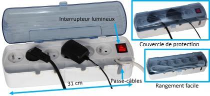 Multiprise anti-poussière, Propreté - Sécurité - Rangement facilité - 6 prises