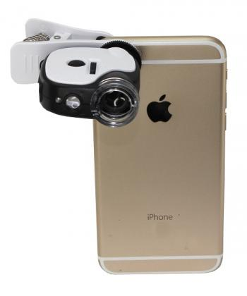 Microscope pour smartphone, Grossissement X55 - Clip amovible - 3 lampes