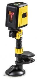 Niveau laser Croix avec support, 3 faisceaux laser - Auto-nivellement - Fixation pince et ventouse