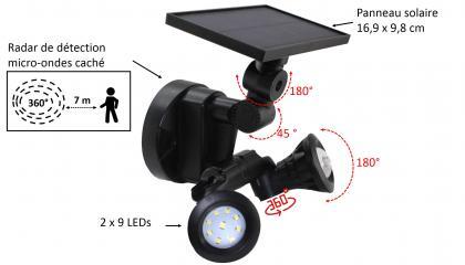 Projecteur solaire duo 360°, Technologie  micro onde - Détection 360°  - 18 LEDs