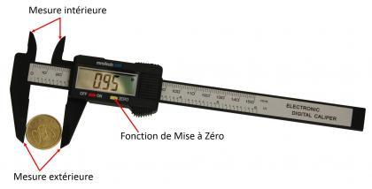 Pied à coulisse digital 150 mm, Fibre de carbone - Résistance - Précision