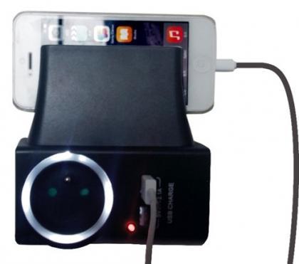 Prise support charge téléphone, 2 ports USB - 1 prise classique - Veilleuse automatique