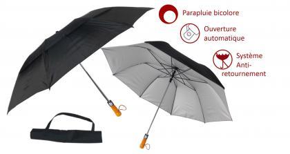 Parapluie XXL black & silver, Ouverture automatique - Système anti-retournement