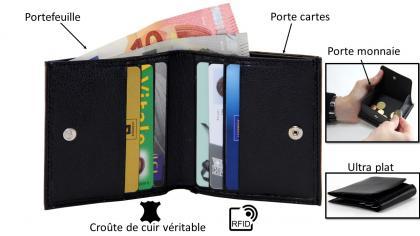 Porte monnaie anti RFID, Cuir véritable - anti RFID - 3 en 1