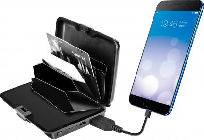 Porte-cartes RFID, Power bank - Torche