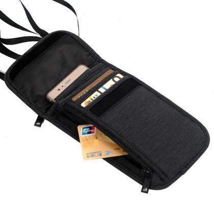 Pochette tour de cou de voyage, Anti RFID - Compartimentée