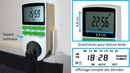 Prise programmateur digital, 10 minuteries - Grand écran - Economies d'énergie