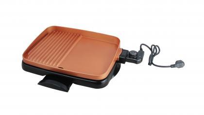 Plaque plancha de cuisson, 1500W - 5 niveaux de chauffe - Antiadhérente - Nettoyage facile
