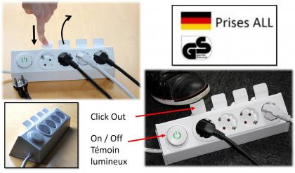 Bloc Multiprise Click Out, Interrupteur à pied - Click out