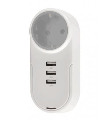 Prise orientable intelligente, 1 prise secteur - 3 prises USB - Se tourne à 180°