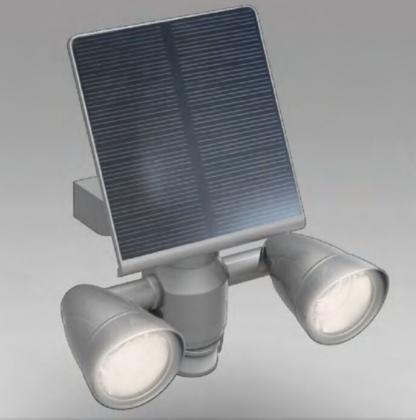Projecteur solaire duo-rientable, LED COB - Détecteur de présence à 10m - 400 lumens - IP65