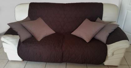Protection de canapé Chocolat, Ensemble 3 pièces