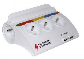 Multiprise couleur de table, 5 prises - 2 USB - Sécurité surcharge - Support téléphone