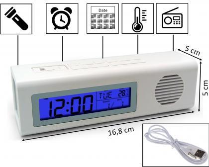Radio réveil torche, Stations FM - Alarme - Calendrier - Température