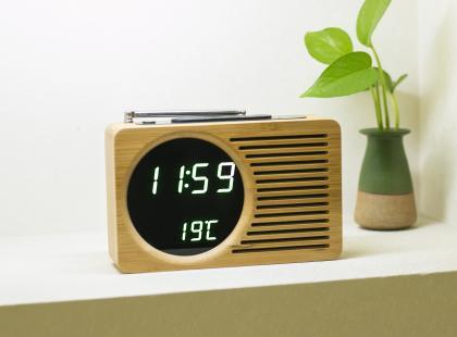 Radio Réveil Bambou, Radio FM - Température - Affichage LED bleu