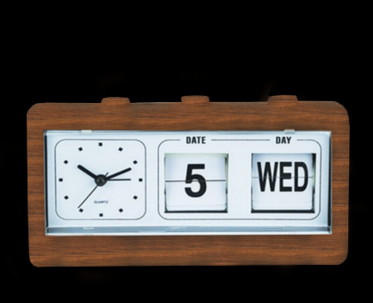 Réveil Flip Flap look bois, Horloge - Réveil - Calendrier