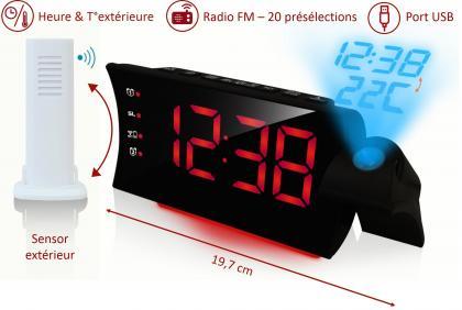 Curve projection duo, Port USB - Projection heure et température extérieure