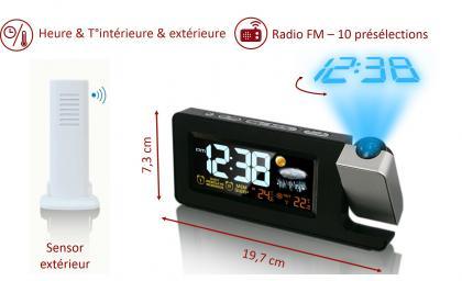 Radio réveil météo projection, T° intérieure & extérieure - Backlight - Projection heure