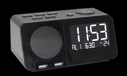 Radio réveil station USB, Radio - Réveil radio-piloté - 2 ports USB