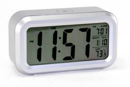 Réveil Soft Touch, Rétro éclairé - Température - Ecran grands chiffres