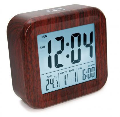 Réveil Wood Touch, Rétro éclairé - Température - Ecran grands chiffres