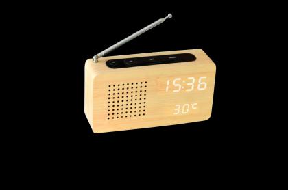 Radio transistor bois clair, Affichage LED à travers le bois - Réveil - Température