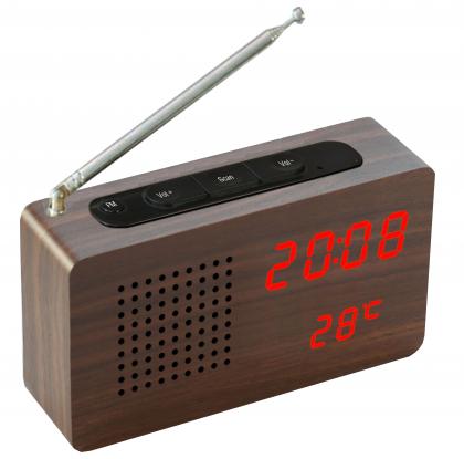 Radio transistor bois foncé, Affichage LED à travers le bois - Réveil - Température