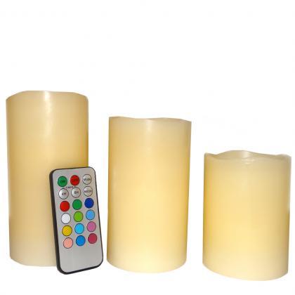 Set bougies cire lumineuses, Télécommandées - multicolores